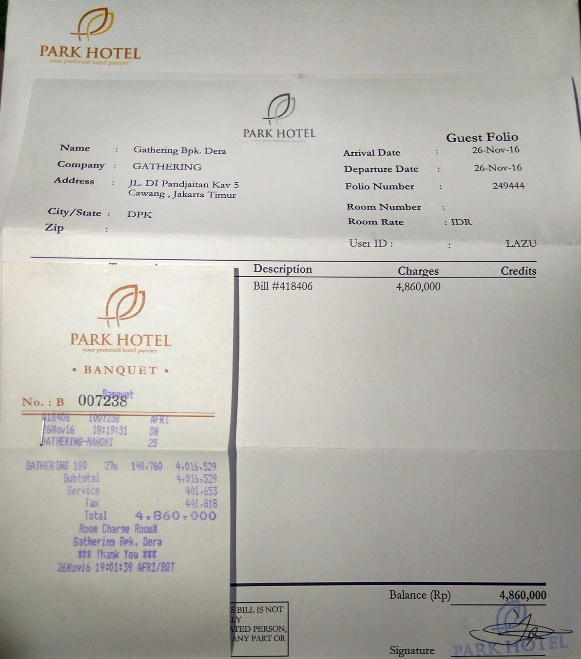 pembayaran park hotel